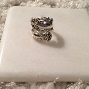 Sterling silver spoon ring, size 7.